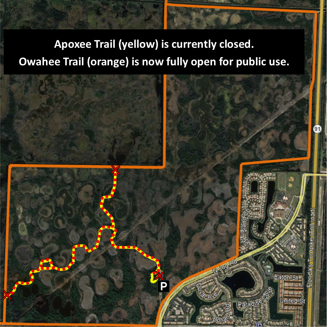 map showing apoxee trail is closed, but owahee trail is fully open