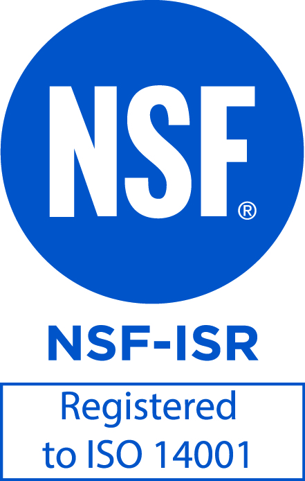"Blue NSF symbol  on white background reading NSF-ISR with ""Registered to ISO 14001"" in box below."