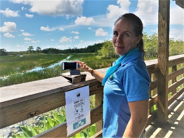 GWP Environmental Education Officer Nicole Reintsma at Grassy Waters Chronolog Station